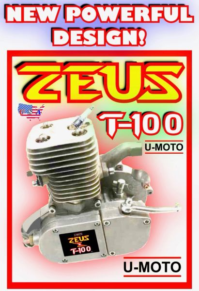 ZEUS T-100 (TM) THUNDER ONE HUNDRED 80CC/100CC 2-STROKE BICYCLE MOTOR (MOTOR ONLY)
