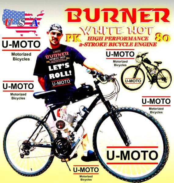 U-MOTO DO-IT-YOURSELF 2-STROKE BURNER (TM) MOTORIZED MOUNTAIN BIKE