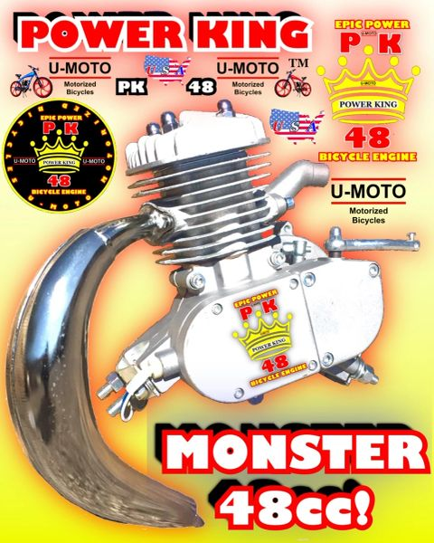 U-MOTO POWER KING (TM) 48CC/49CC/5CC TM STAGE HIGH PERFORMANCE 2-STROKE BICYCLE MOTOR/BANANA PIPE COMBO