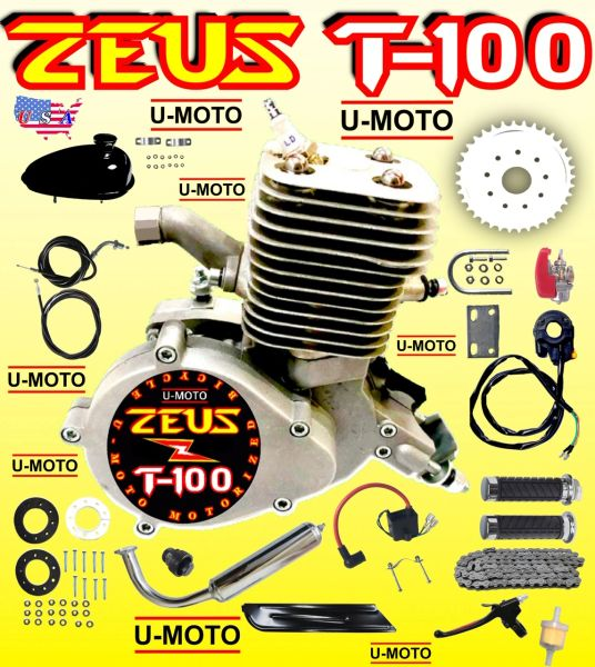 U-MOTO ZEUS T-100 (TM) 80CC/100CC HYPERPOWER 2-STROKE BICYCLE MOTOR KIT