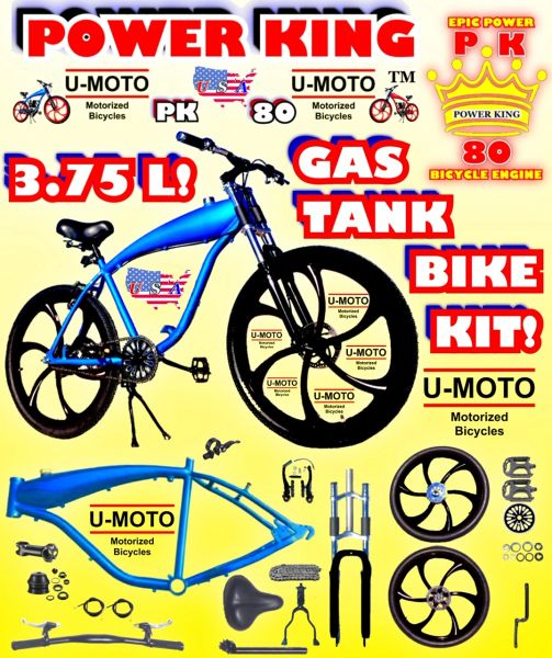 "U-MOTO 26"" POWER KING TM COMPLETE BLUE 3.75 L GAS TANK CRUISER BICYCLE KIT WITH 26"" MAG WHEELS FOR 2-STROKE 48CC 66CC 80CC BICYCLE MOTOR KITS"