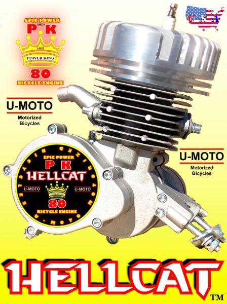 POWER KING HELLCAT (TM) 66CC/80CC TWO-STROKE BIKE MOTOR WITH MONSTER HIGH COMPRESSION HEAD COMBO