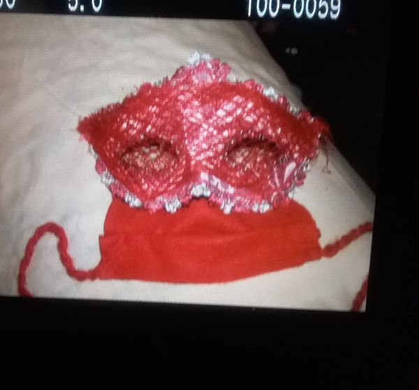 Red and Silver cat eyes with attached red face mask. CUSTOMIZED MASK AVAILABLE. SEE BELOW.