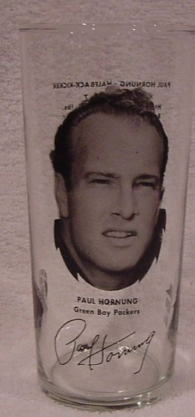 Green Bay Packers Paul Hornung 1970's Pizza Hut Glass MINT!