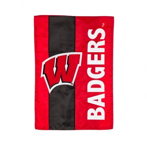 Wisconsin Badgers Embellished Garden Flag 2 sided