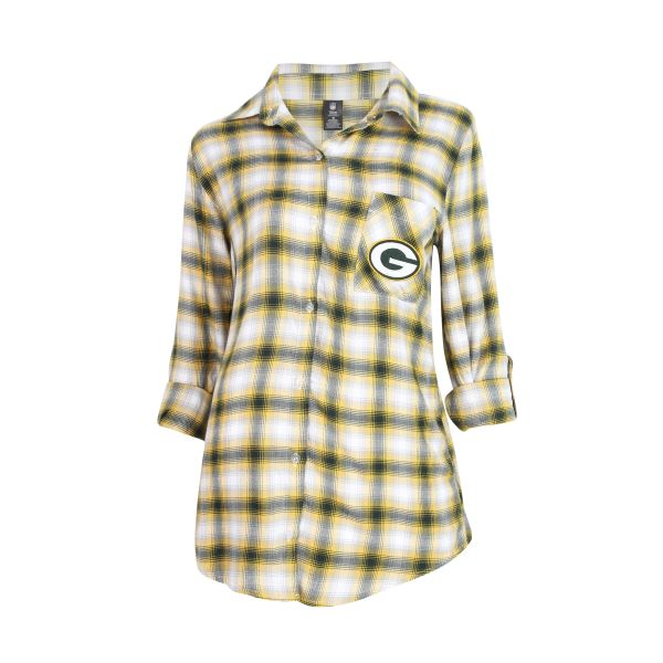 Green Bay Packers Concepts Sport Women Forge Rayon Flannel Long Sleeve Shirt