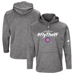 Chicago Cubs Fly The W Authentic Collection Streak Fleece Pullover Hoodie GRAY