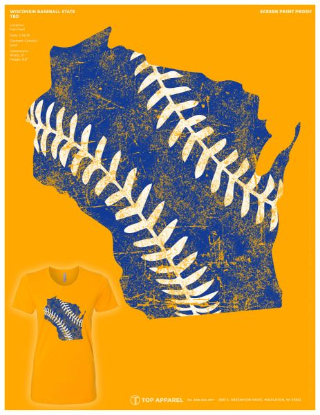 Milwaukee Blue & Gold State Outline and Baseball Seams Ladies Shirt