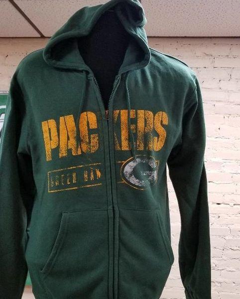 Green Bay Packers Full Zip distressed Hoodie Hooded Hood