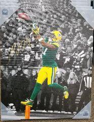 Green Bay Packers Davante Adams Autographed 20x24 Canvas Print JSA #3