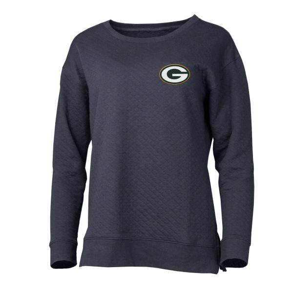 Green Bay Packers Women's Lunar Quilted Fleece Crew Heather Charcoal