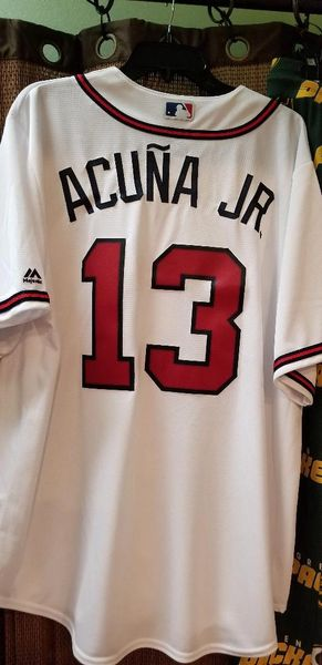 sneakers for cheap d4b70 d21d9 Ronald Acuna Jr Atlanta Braves Majestic Home White Replica Jersey