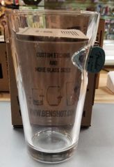 BenShot Pint Glass with Real Fender Guitar Pick 16 oz Made in the USA