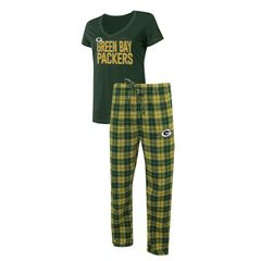 Green Bay Packers Ladies 2 Piece Flannel Sleep Set Roster