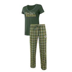 Green Bay Packers Ladies 2 Piece Flannel Sleep Set Skit