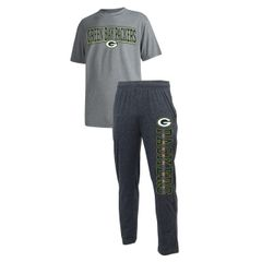 Green Bay Packers Mens 2 Piece Flannel Sleep Set Runway