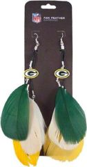 Green Bay Packers Fan Feather Earrings NFL