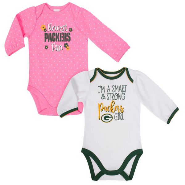 Green Bay Packers Gerber Girls 2 Pack Long Sleeve Bodysuit NFL 6-12 MO