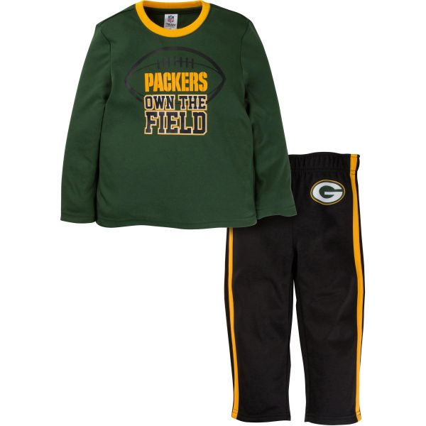 Green Bay Packers Toddler Boys 2-Piece Performance Long Sleeve Tee Shirt and Pant Set 18MO