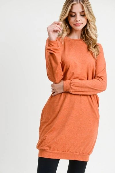 Women's Long Sleeve Pullover Sweatshirt Dress COPPER great with leggings