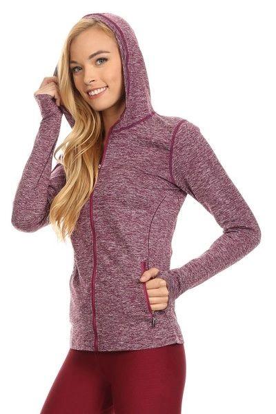 Women/Ladies Seamless Active Living Jacket with Hoodie WINE RED