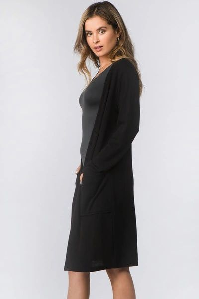 Women's Long Sleeve Knit Wrap Cardigan with Pockets BLACK