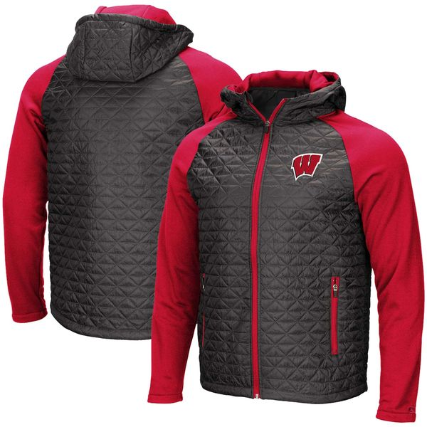 Men's Colosseum Charcoal Wisconsin Badgers Base Plate Full-Zip Jacket