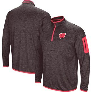 Colosseum Adult Black Wisconsin Badgers Amnesia Quarter-Zip Pullover Jacket
