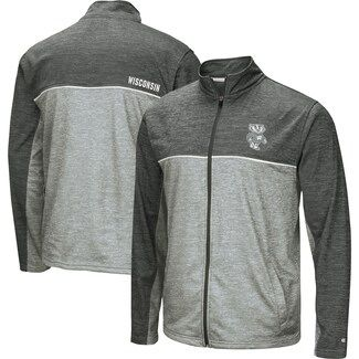 Colosseum Heathered Gray Wisconsin Badgers Banked Full-Zip Fleece Jacket