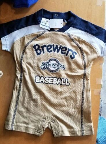 MILWAUKEE BREWERS CREEPER ROMPER COVERALL BABY INFANT NWT LICENSED MLB #3