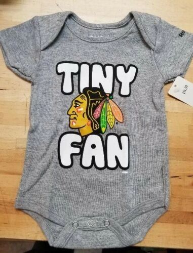 CHICAGO BLACKHAWKS INFANT BABY CREEPER ROMPER COVERALL NHL LICENSED TINY FAN