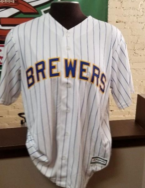 Milwaukee Brewers Full Button Down Retro Pinstripe Jersey