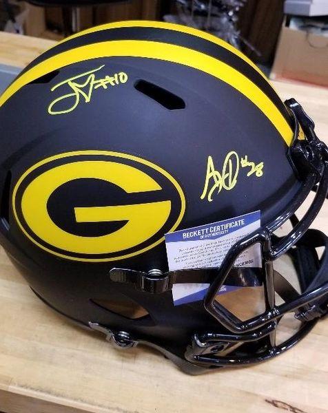 Green Bay Packers Jordan Love & AJ Dillon Autographed Full Size Eclipse Helmet