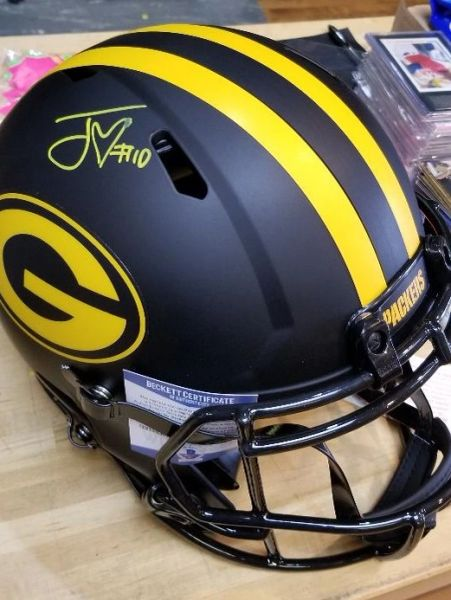 Green Bay Packers Jordan Love Autographed Full Size Eclipse Helmet Authentic