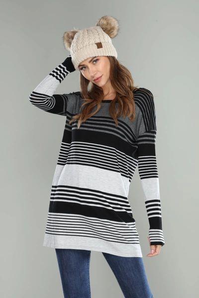 Ladies Long Sleeve Tri Color Top