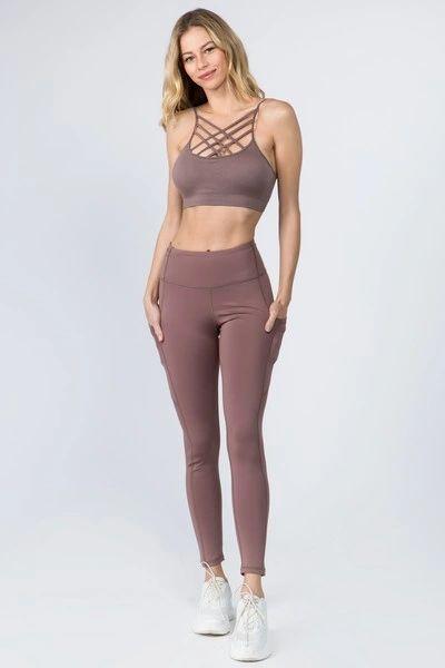 Women's High Waist Tech Pocket Workout Leggings Smoky Mauve