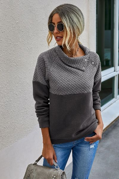 Ladies Solid Button Loose Fir Sweater Charcoal