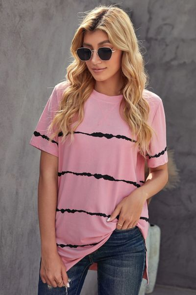 Ladies Tie-dye Stripe Casual T-Shirt
