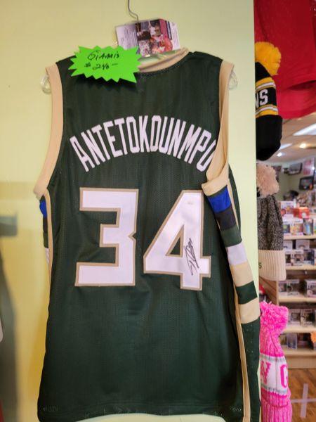 Milwaukee Bucks Giannis Antetokounmpo Custom Jersey Autographed OLD SIGNATURE