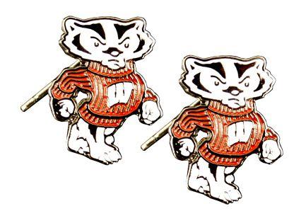 Wisconsin Badgers Bucky Post Earrings NCAA