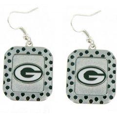 Green Bay Packers Polka Dot Earrings NFL