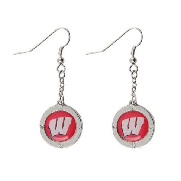Wisconsin Badgers Rhinestone Earrings NCAA