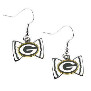 Green Bay Packers Bowtie Dangle Earrings NFL