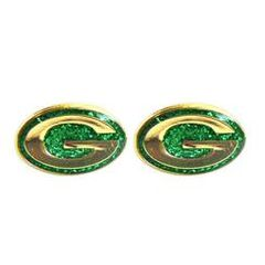 Green Bay Packers G Logo Glitter Post Earrings NFL