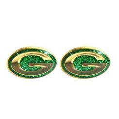 Green Bay Packers G Logo Glitter Post Earrings NFL