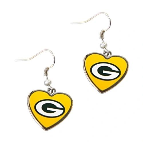 Green Bay Packers Yellow Hearts Dangle Earrings NFL