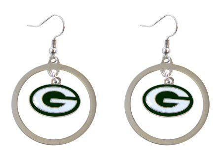Green Bay Packers Hoop Logo Dangle Earrings NFL