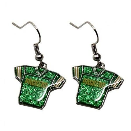 Green Bay Packers Glitter Jersey Dangle Earrings NFL