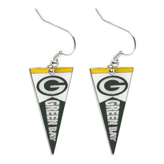 Green Bay Packers Pennant Dangle Earrings NFL