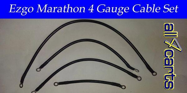 Ezgo Marathon Battery Cable Set - 4 Gauge Upgrade